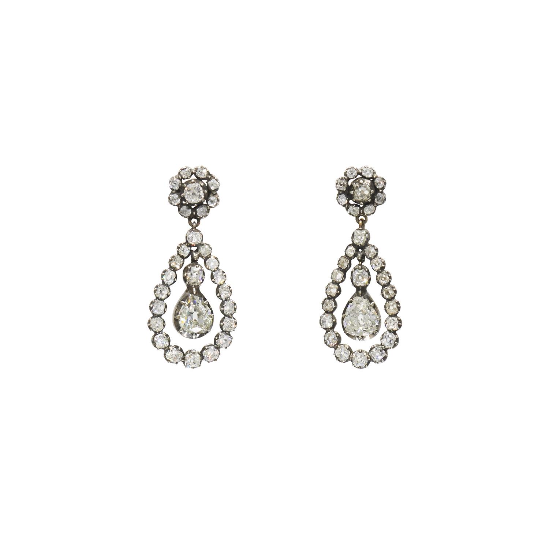 Antique Old Mine Diamond Pendant Earrings Style E-41076-FL-0-0