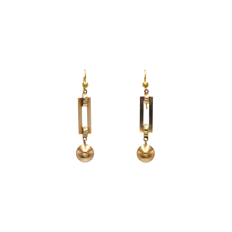 Antique 14K Yellow Gold Hollowform Ball Pendant Earrings Style E-41200-FL-0-0