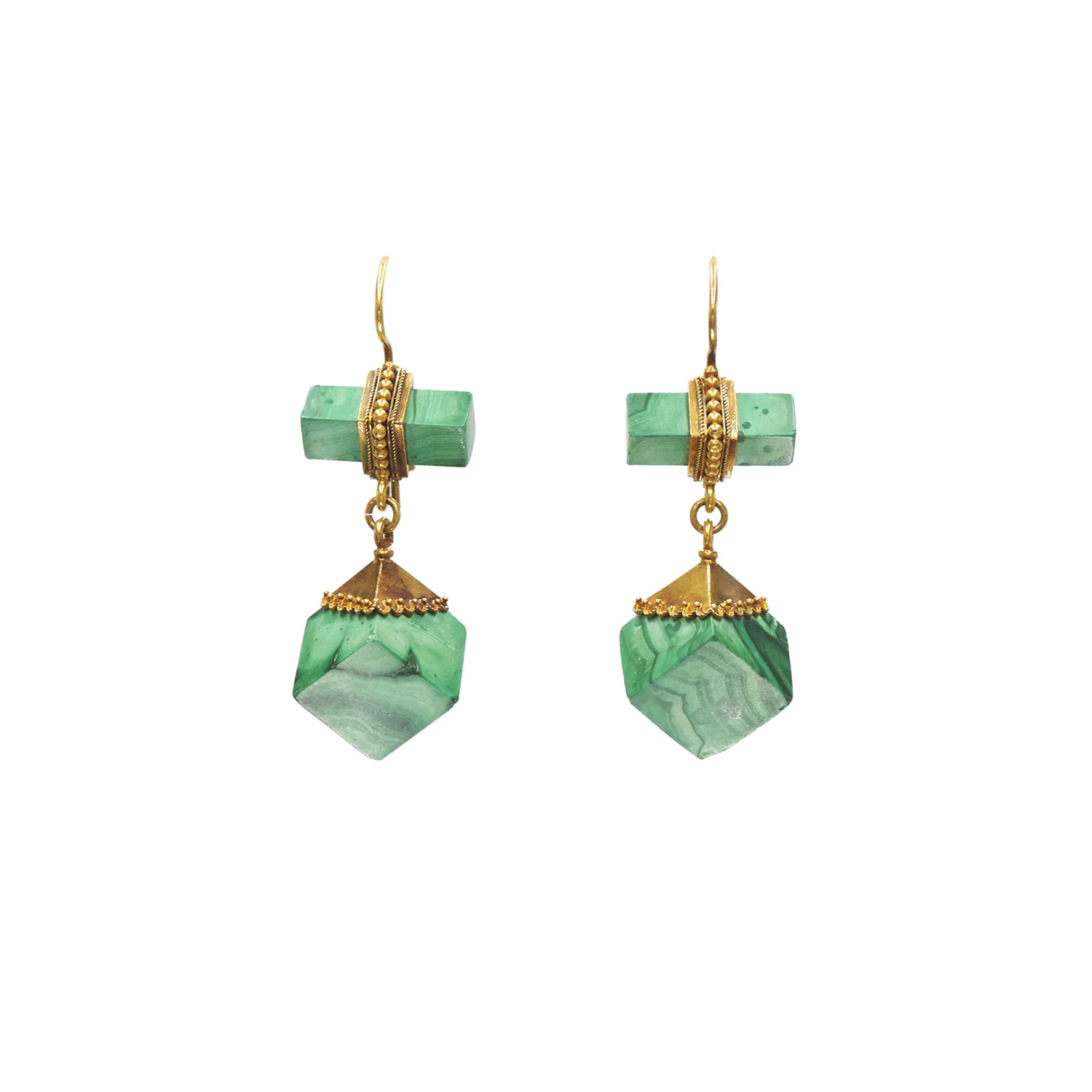 Antique 18K Yellow Gold Malachite Cube Pendant Earrings Style E-41395-FL-0-0