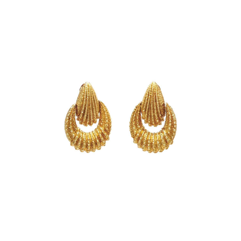 18K Yellow Gold Hammered Doorknocker Earrings by Van Cleef & Arpels Style E-41420-FL-0-0