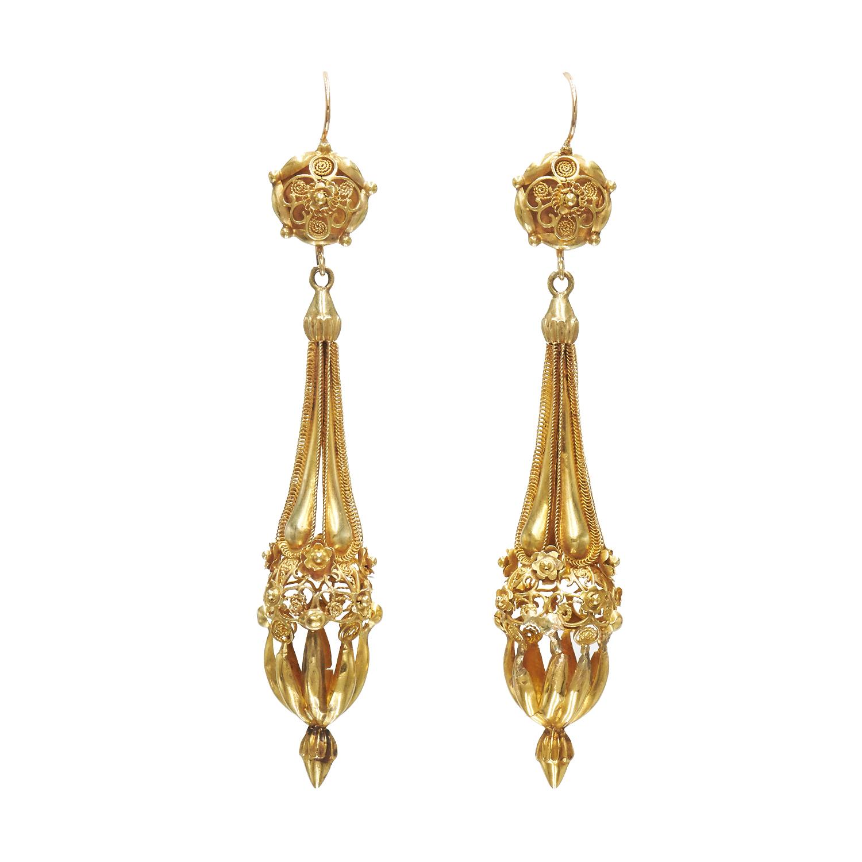 Georgian 18K Yellow Gold Cannetille Pendant Earrings Style E-41429-FL-0-0
