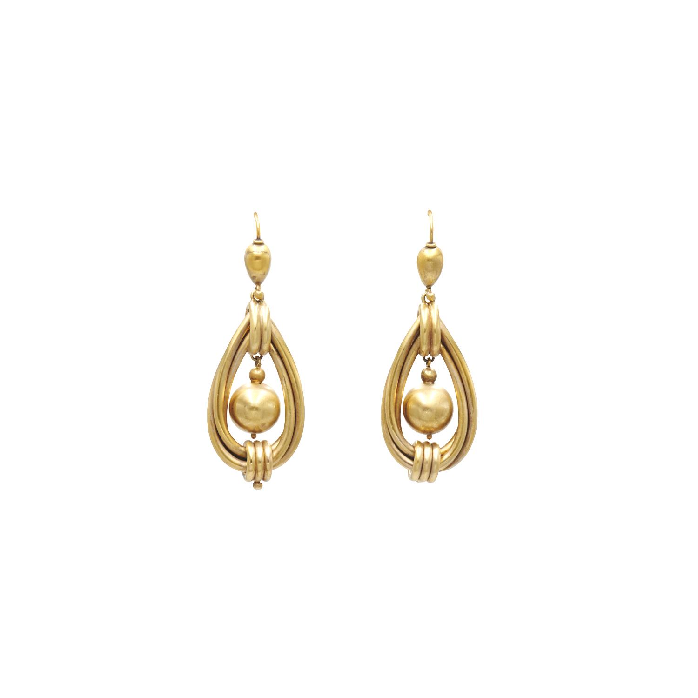Antique 15K Yellow Gold Hollowform Twist Pendant Earrings Style E-41431-FL-0-0