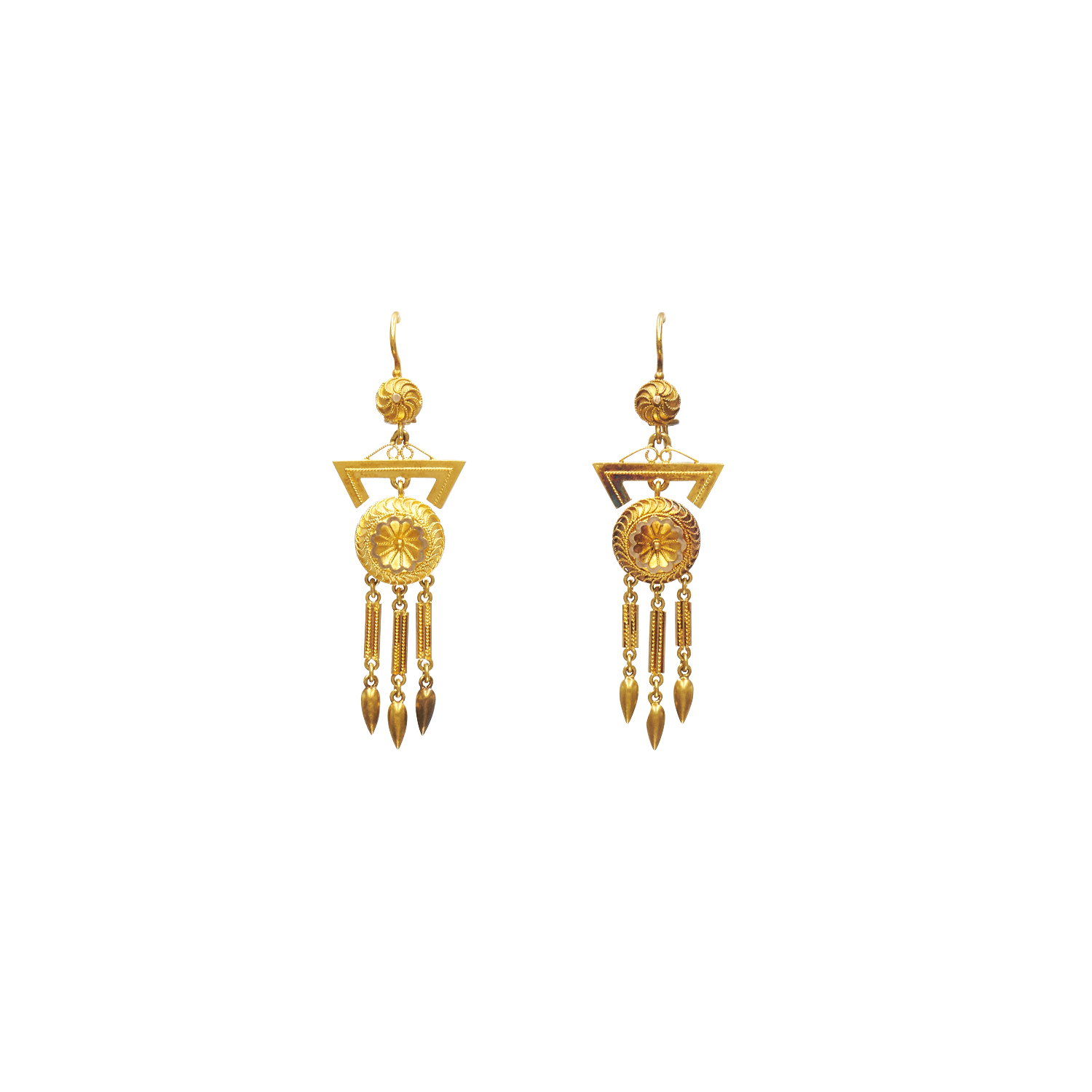 Antique 18K Yellow Gold Etruscan Revival Pendant Earrings Style E-41434-FL-0-0