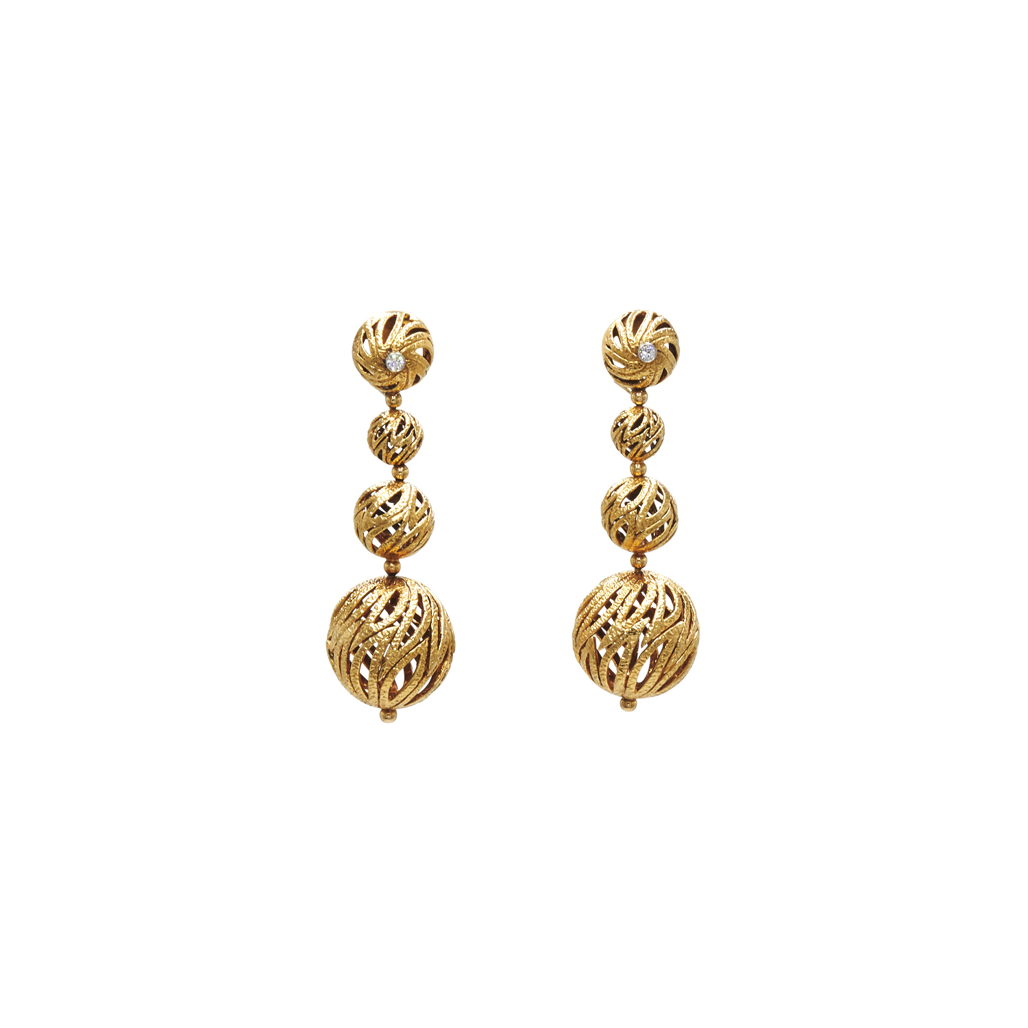 18K Yellow Gold Textured Openwork Ball Pendant Earrings by Van Cleef & Arpels Style E-41606-FL-0-0