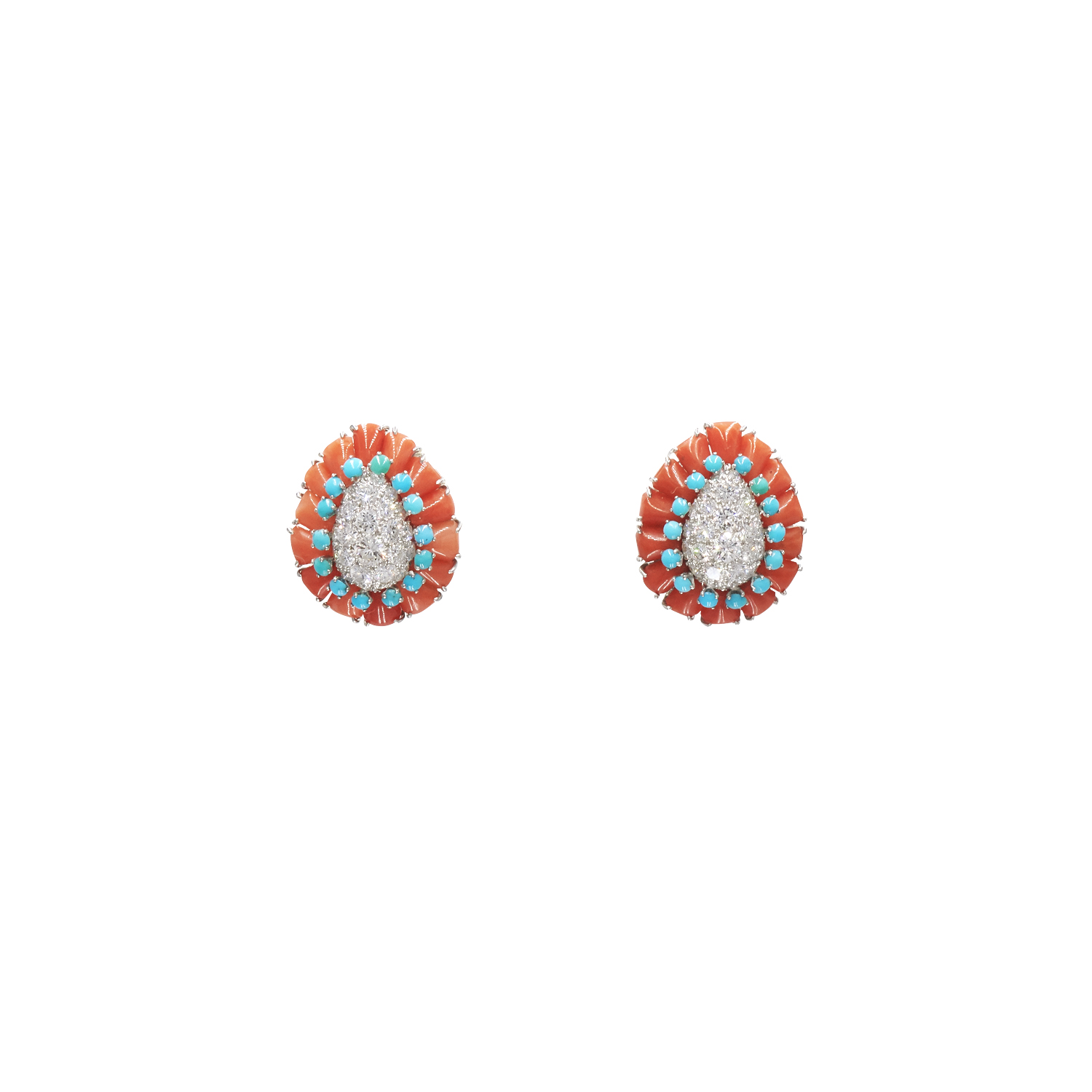 Coral, Turquoise and Diamond Paisley Earrings by Van Cleef & Arpels NY Style E-41644-FL-0-0