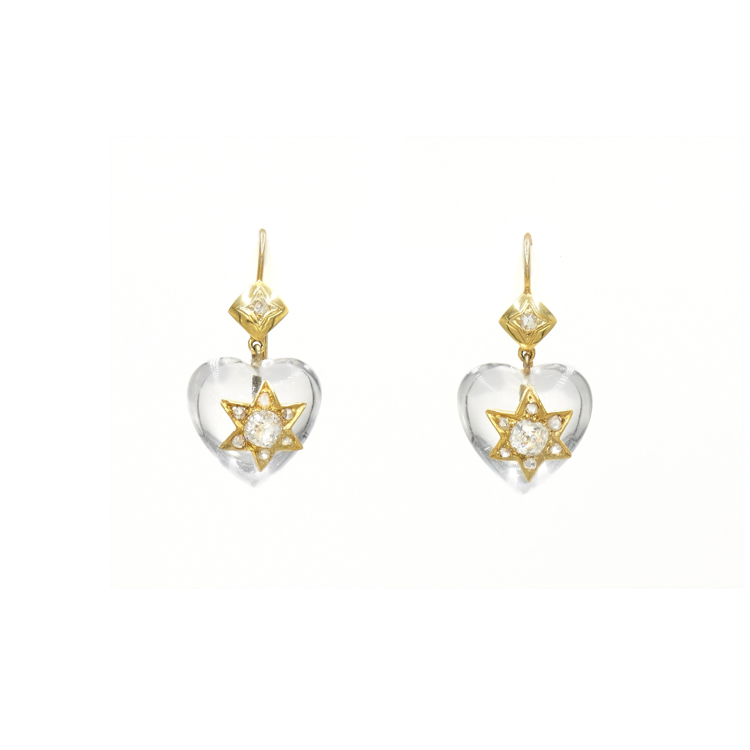 Antique Rock Crystal and Diamond Star and Heart Motif Pendant Earrings Style E-41756-FL-0-0