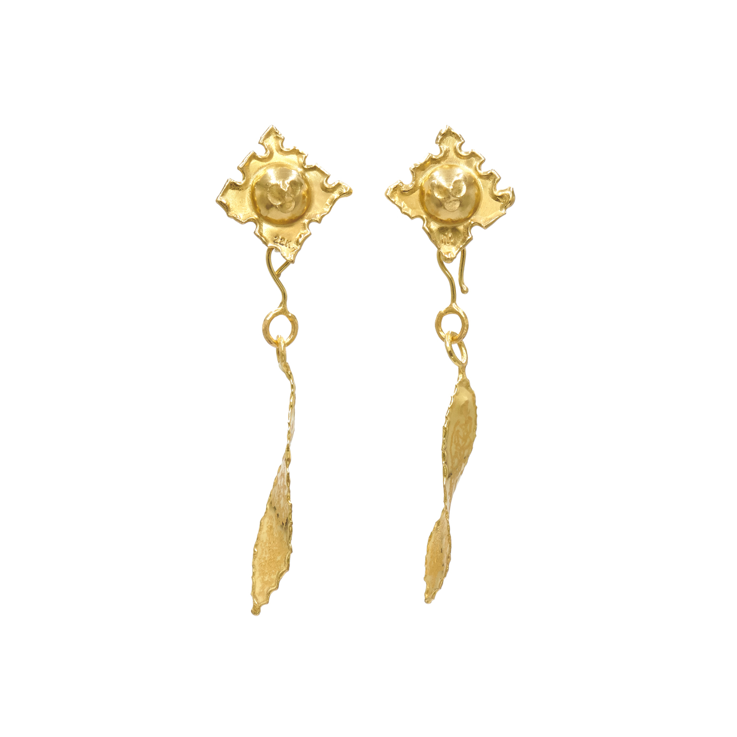 22K Yellow Gold Textured Leaf Motif Pendant Earrings by Jean Mahie, Serial FL41825