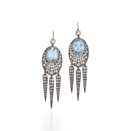 Signed Fred Leighton Diamond and Aquamarine Dart Earrings E1006-AQU