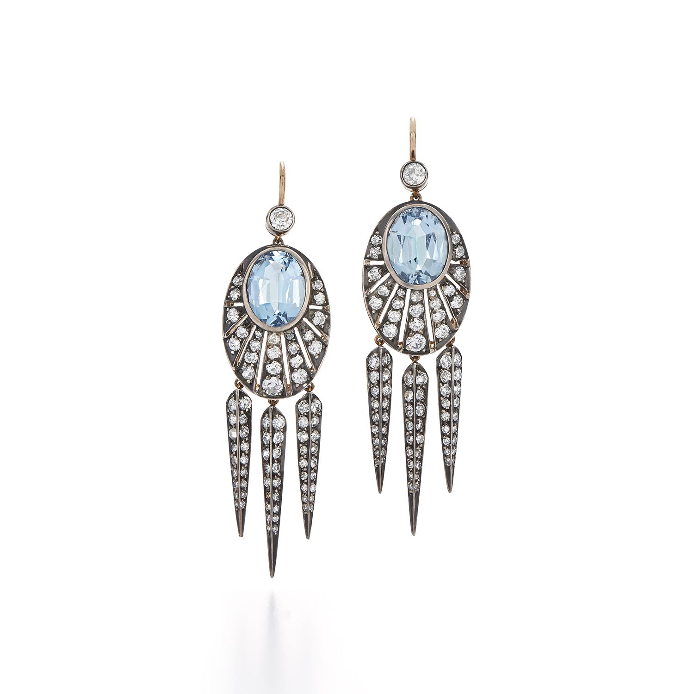 Signed Fred Leighton Diamond and Aquamarine Dart Earrings E1006-AQU