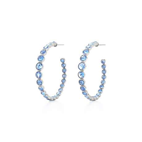 Signed Fred Leighton Rose Cut Blue Sapphire Hoops E1035-SAPP