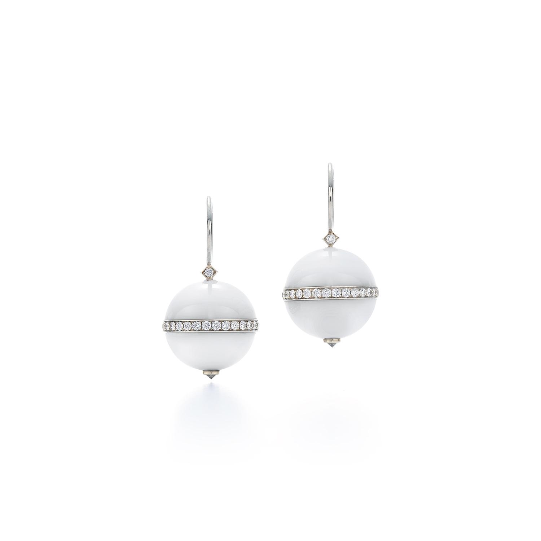 Signed Fred Leighton White Agate and Diamond Drop Earrings E1046-WA