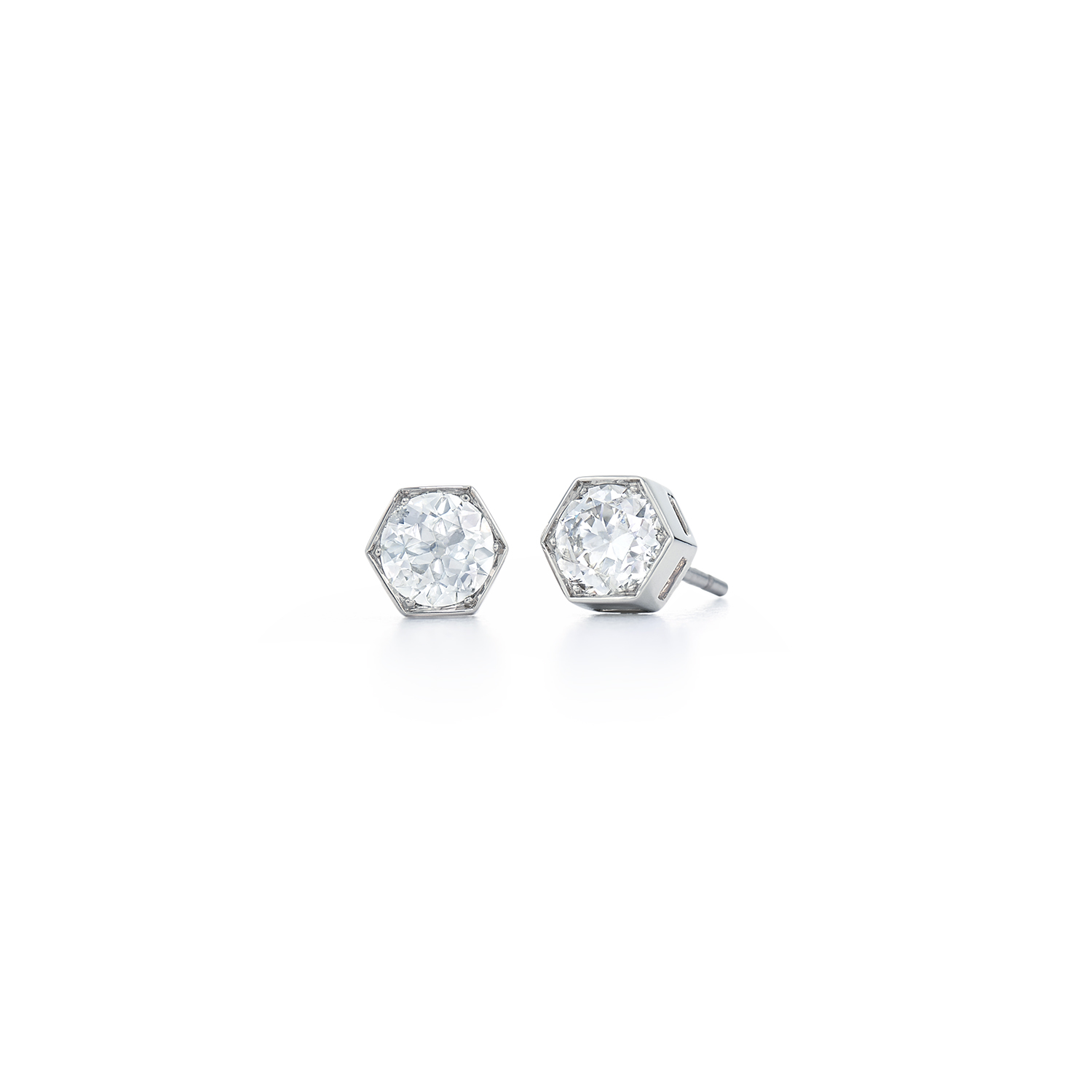 Signed Fred Leighton Hexagonal Diamond Stud Earrings E-1052FL-0-DIA-18KW