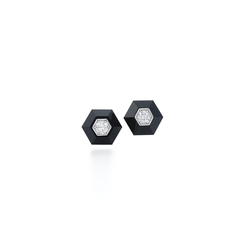 Signed Fred Leighton Hexagonal Black Jade and Diamond Stud Earrings E1058-BLJA