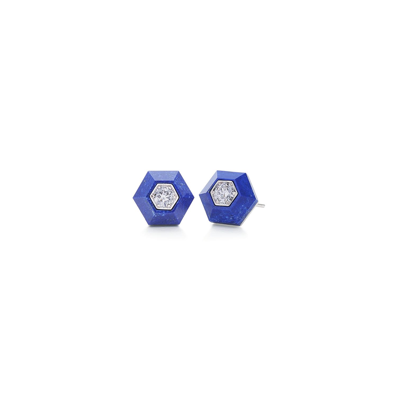Signed Fred Leighton Hexagonal Lapis and Diamond Stud Earrings E-1058FL-0-LAP-18KW