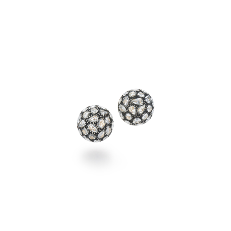 Signed Fred Leighton Pavé Rose Cut Diamond Stud Earrings E1062-DIA