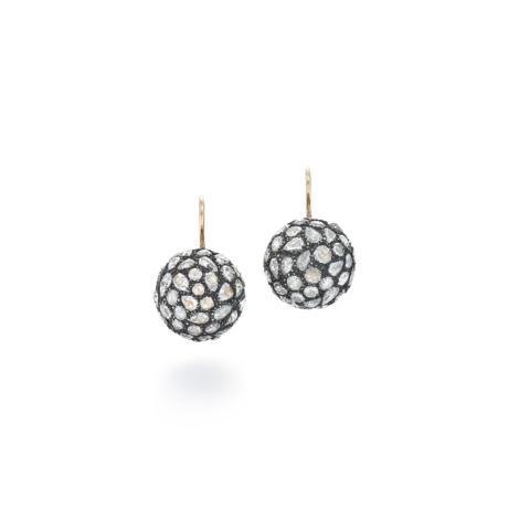 Signed Fred Leighton Pavé Rose Cut Diamond Drop Earrings E1063-DIA