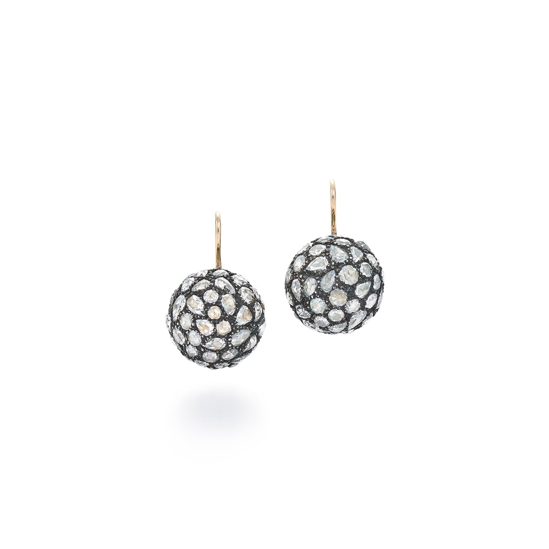 Signed Fred Leighton Pavv© Rose Cut Diamond Drop Earrings E-1063FL-0-DIA-SVGO