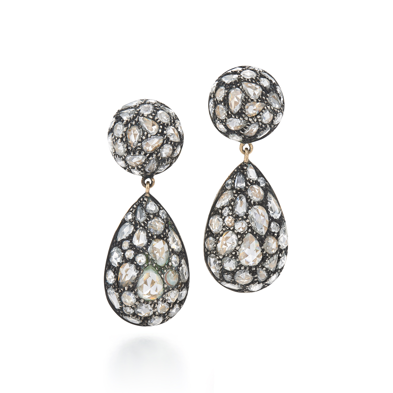 Signed Fred Leighton Pavé Rose Cut Diamond Teardrop Earrings E1078-DIA