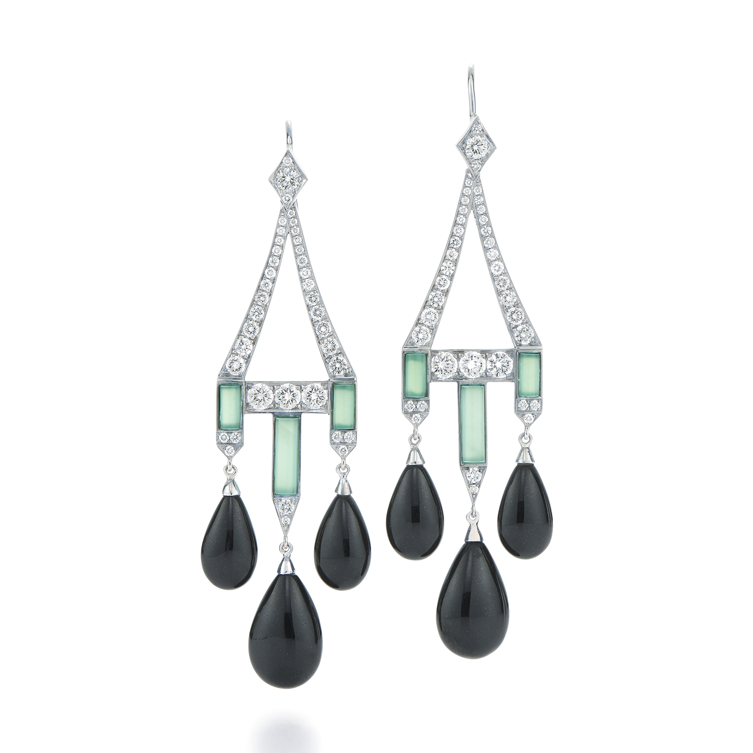 Signed Fred Leighton Black Jade and Chrysoprase Earrings With Diamonds E1082-CHRY