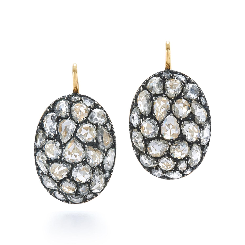 Signed Fred Leighton Pavé Rose Cut Diamond Drop Earrings E1083-DIA