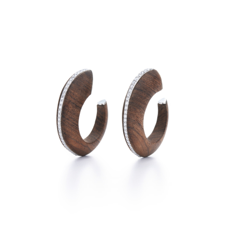 Signed Fred Leighton Rosewood and Diamond Hoops E1084-ROSE
