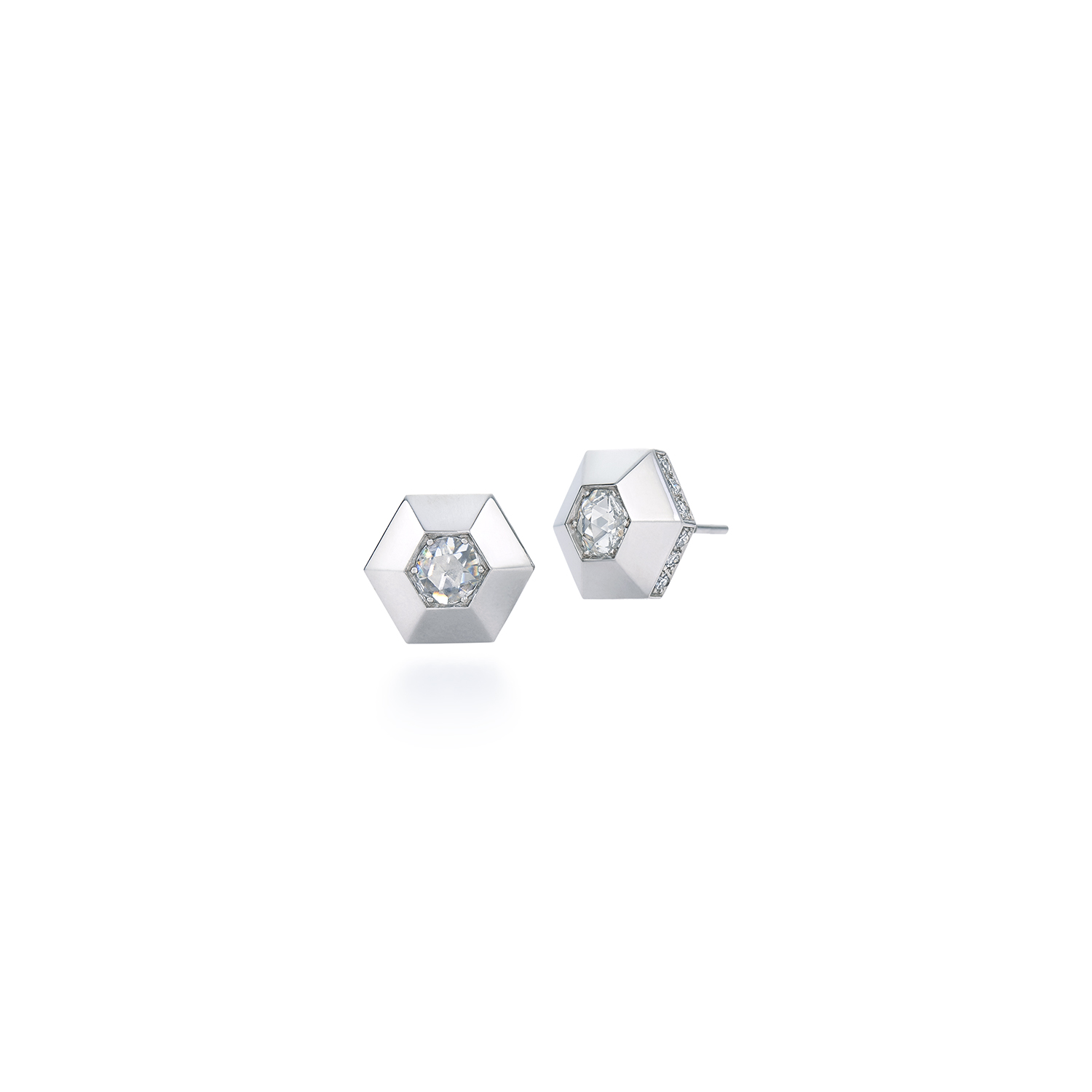 Signed Fred Leighton Hexagonal Diamond and Platinum Stud Earrings E1086-DIA
