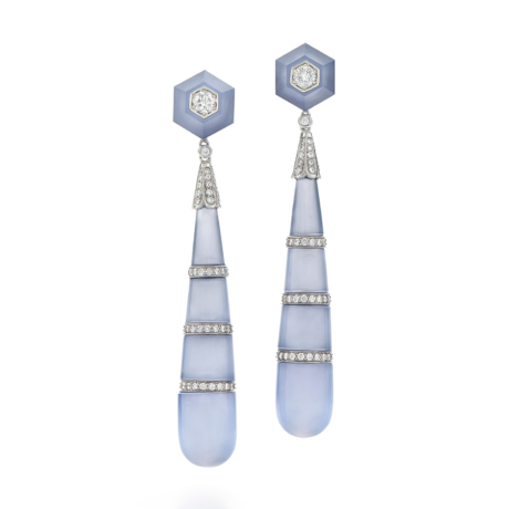 Signed Fred Leighton Blue Chalcedony Prism Earrings E1089-BCHAL
