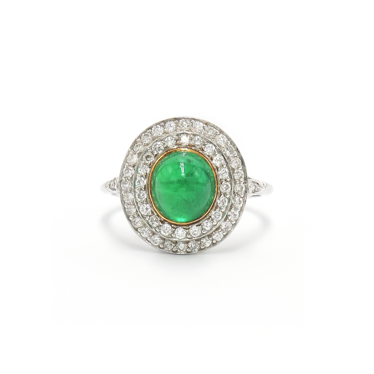 Cabochon Emerald and Diamond Double Halo Ring Style F-20574-FL-0-0