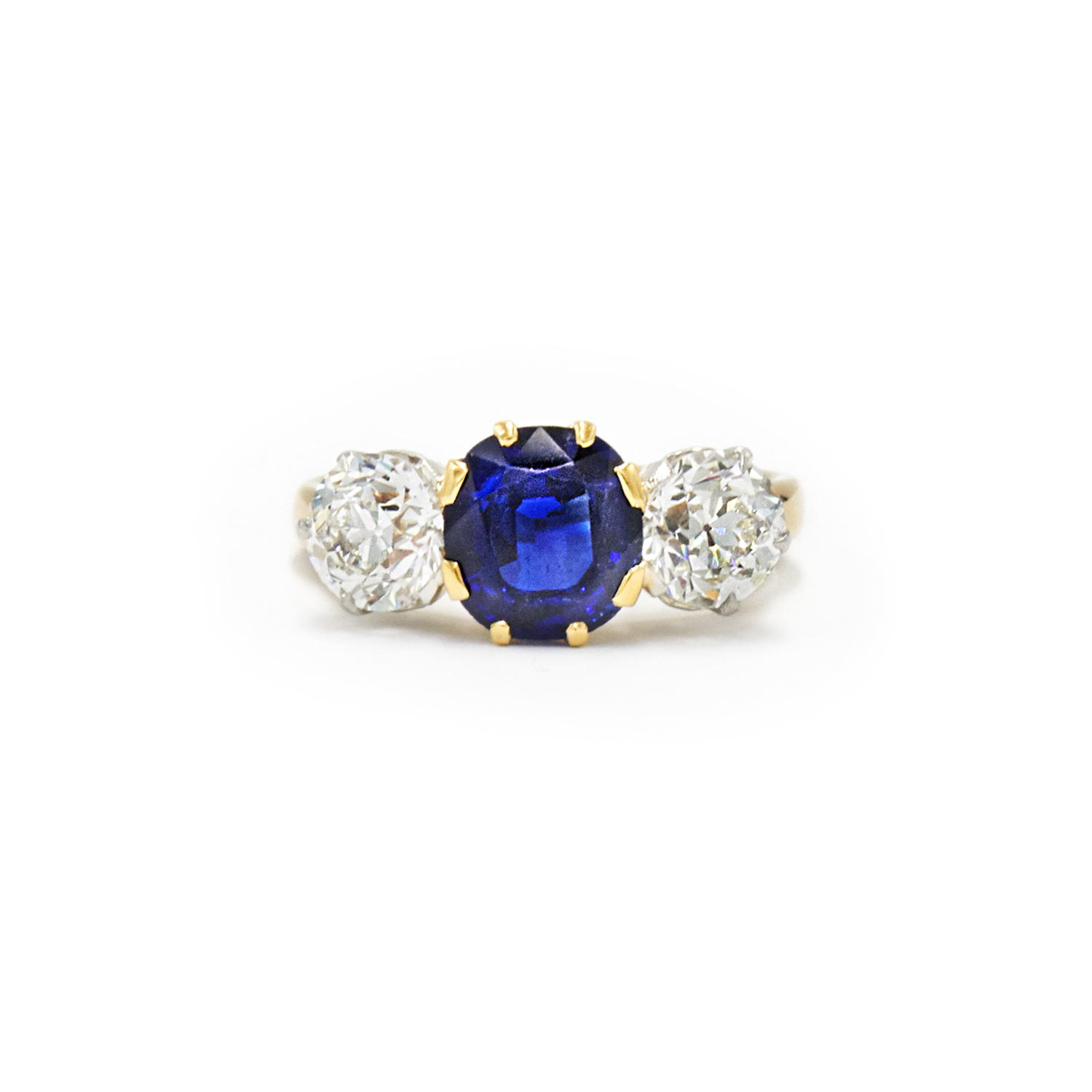 Antique Sapphire and Diamond 3 Stone Ring by Spaulding & Co. Style F-24656-FL-0-0