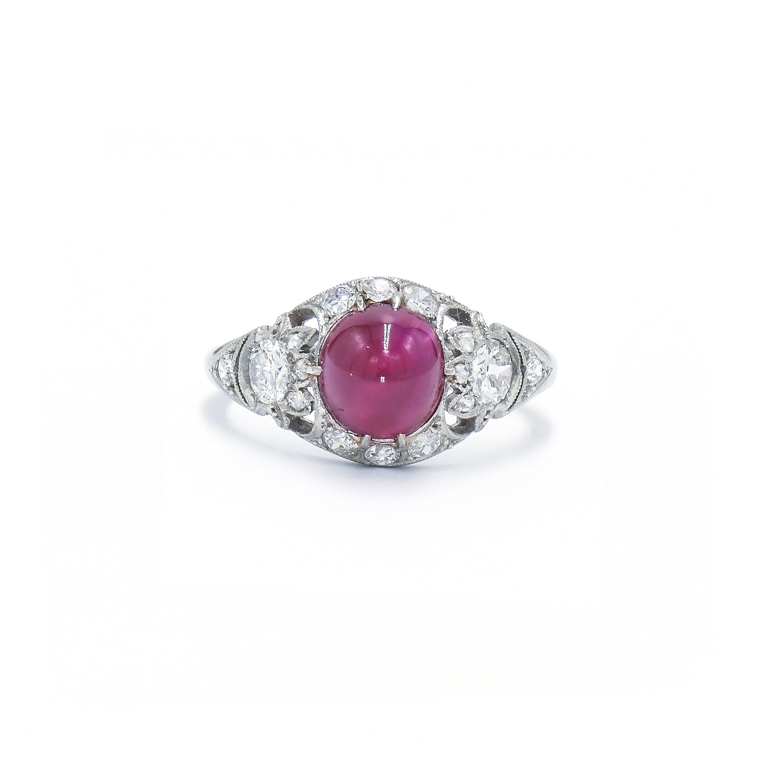 Art Deco Cabochon Ruby and Diamond Ring Style F-25160-FL-0-0