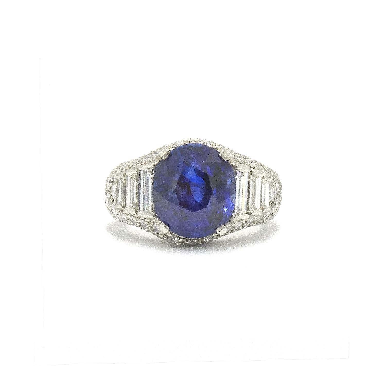 8.20ct Ceylon Sapphire and Diamond Ring by Bulgari Style F-28846-FL-0-0
