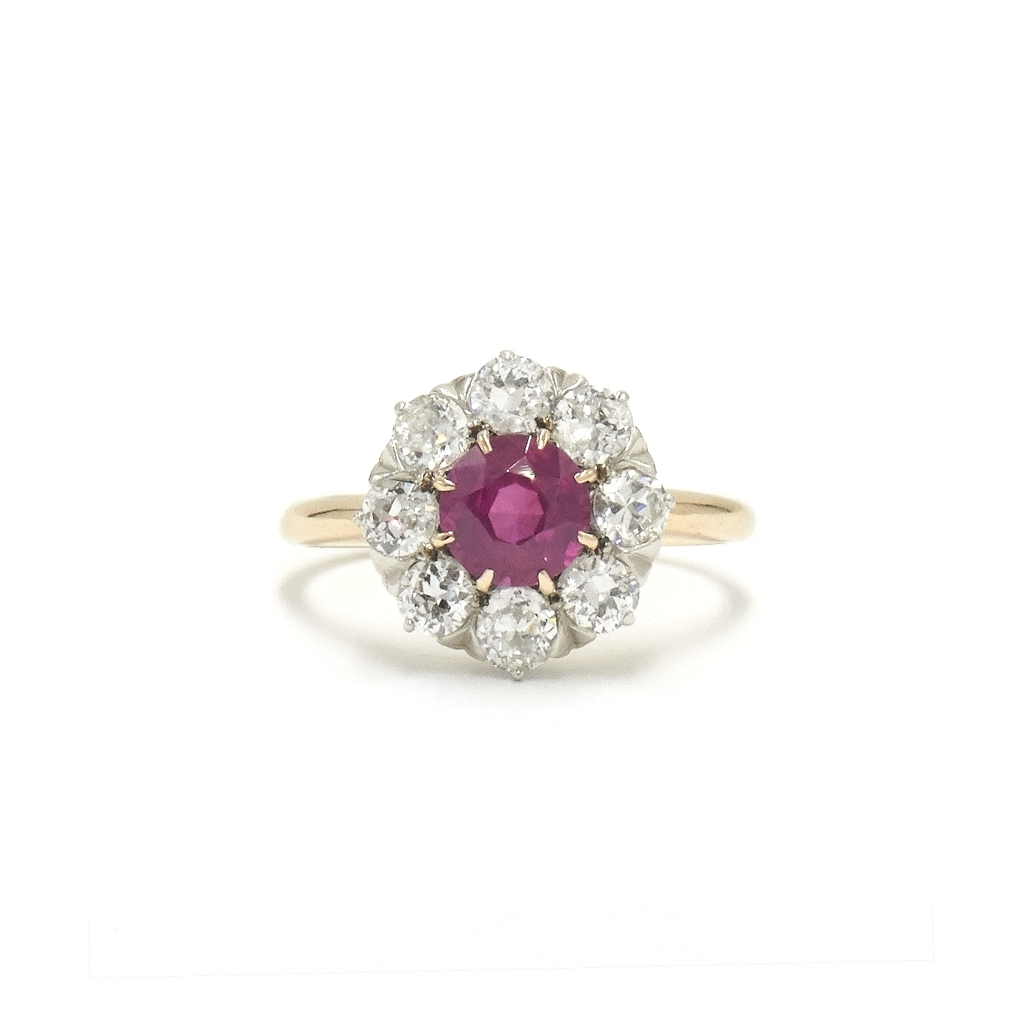 Antique Ruby and Diamond Cluster Ring Style F-29137-FL-0-0