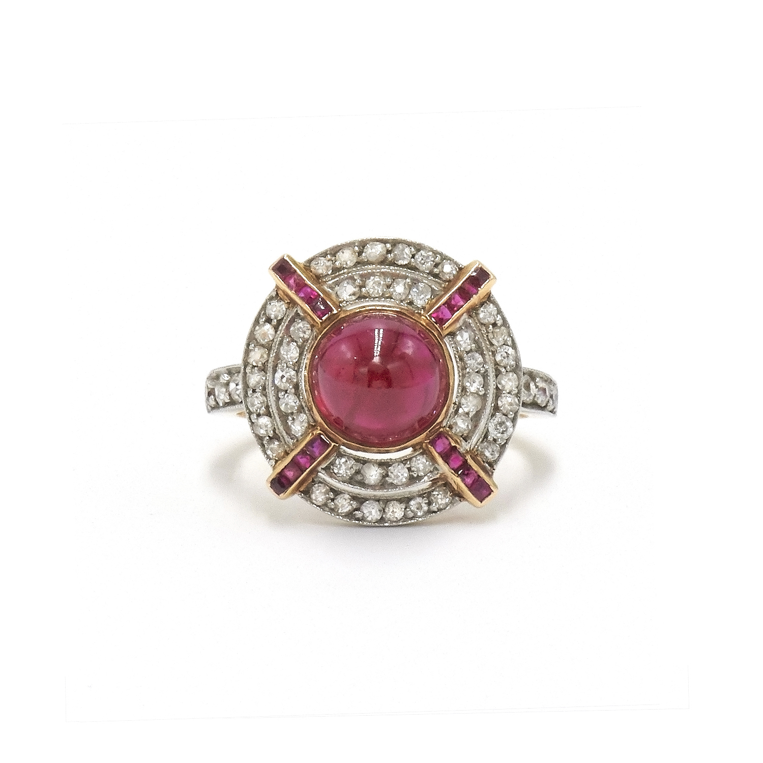 Edwardian Cabochon Ruby and Diamond Target Ring Style F-30075-FL-0-0
