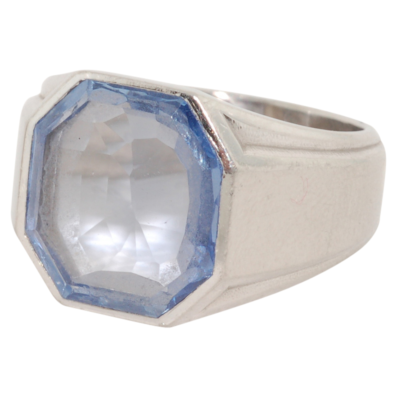 Octagonal Sapphire Signet Ring by René Boivin, Serial FL30262