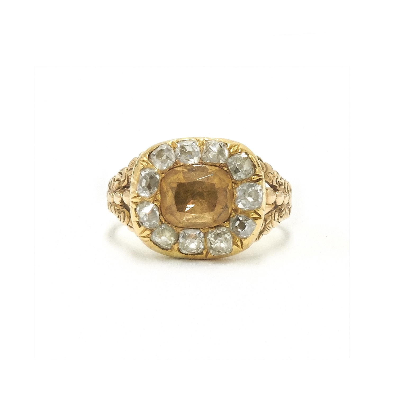 Georgian Citrine and Diamond Cluster Ring Style F-30291-FL-0-0