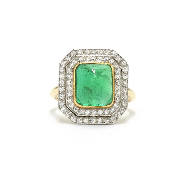 Art Deco Cabochon Emerald and Diamond Ring Style F-31176-FL-0-0