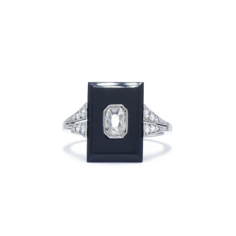 Art Deco Onyx and Diamond Ring Style F-32211-FL-0-0