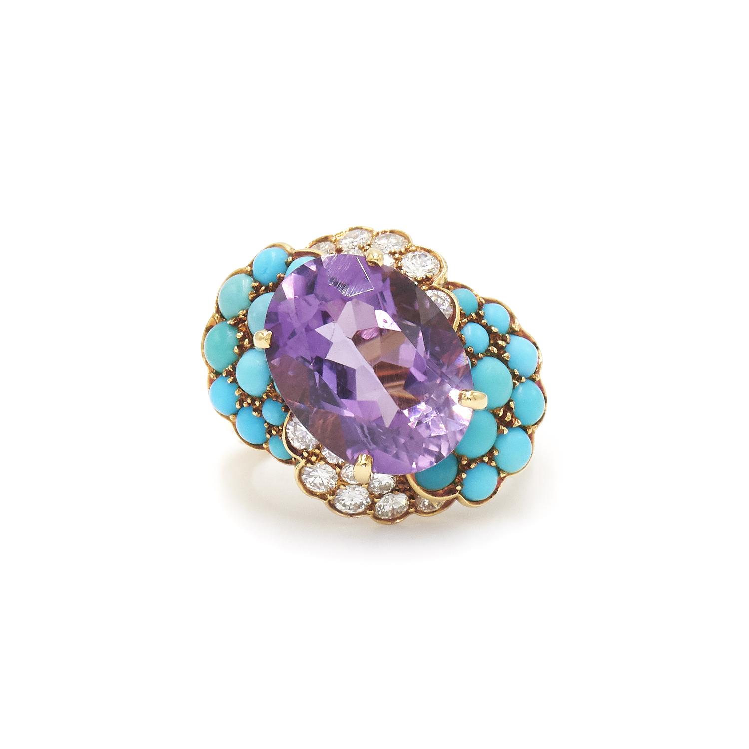 Amethyst, Turquoise and Diamond Cocktail Ring, Serial FL32247