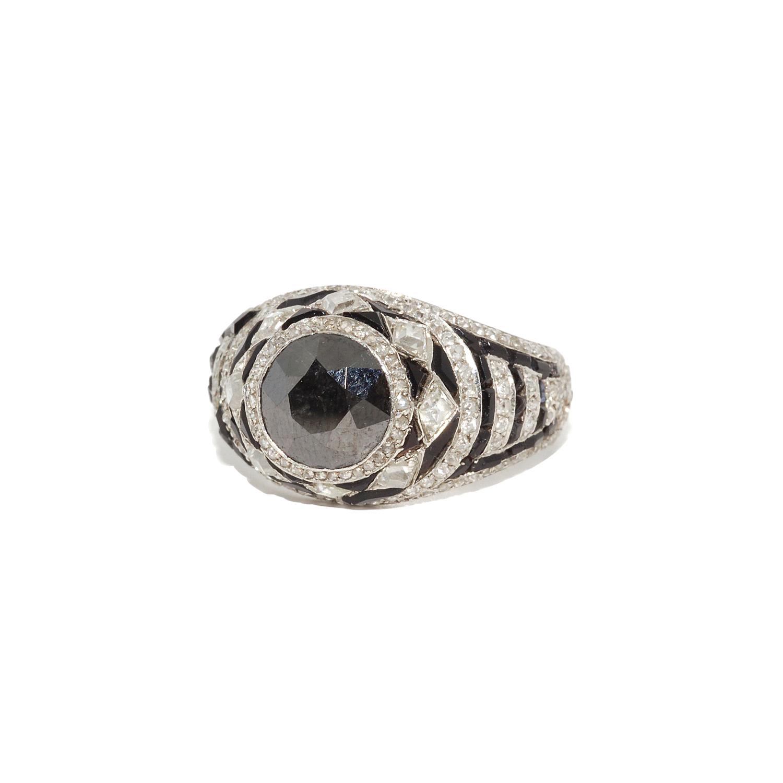 Art Deco Black Diamond, Onyx and Diamond Ring Style F-32606-FL-0-0