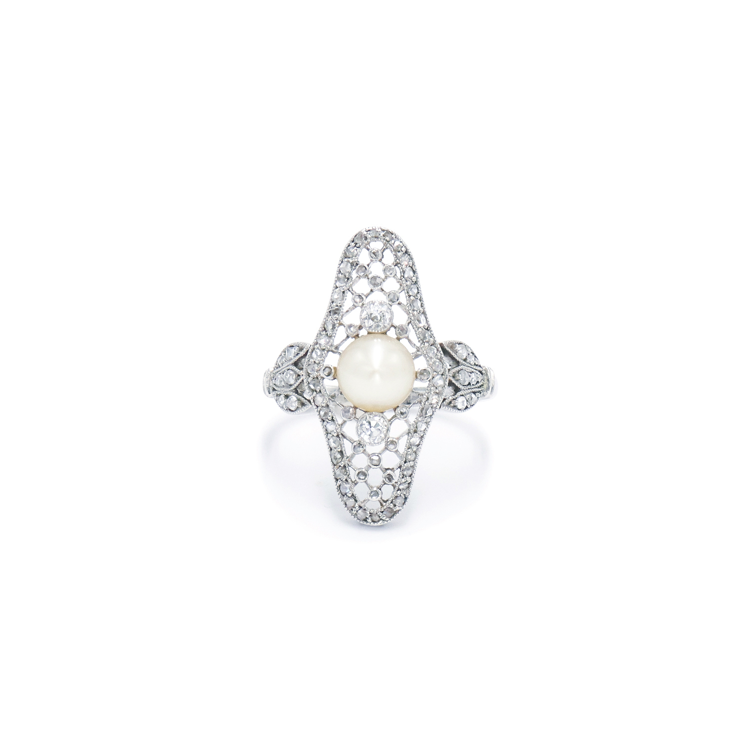 Edwardian Pearl and Diamond Ring Style F-33527-FL-0-0