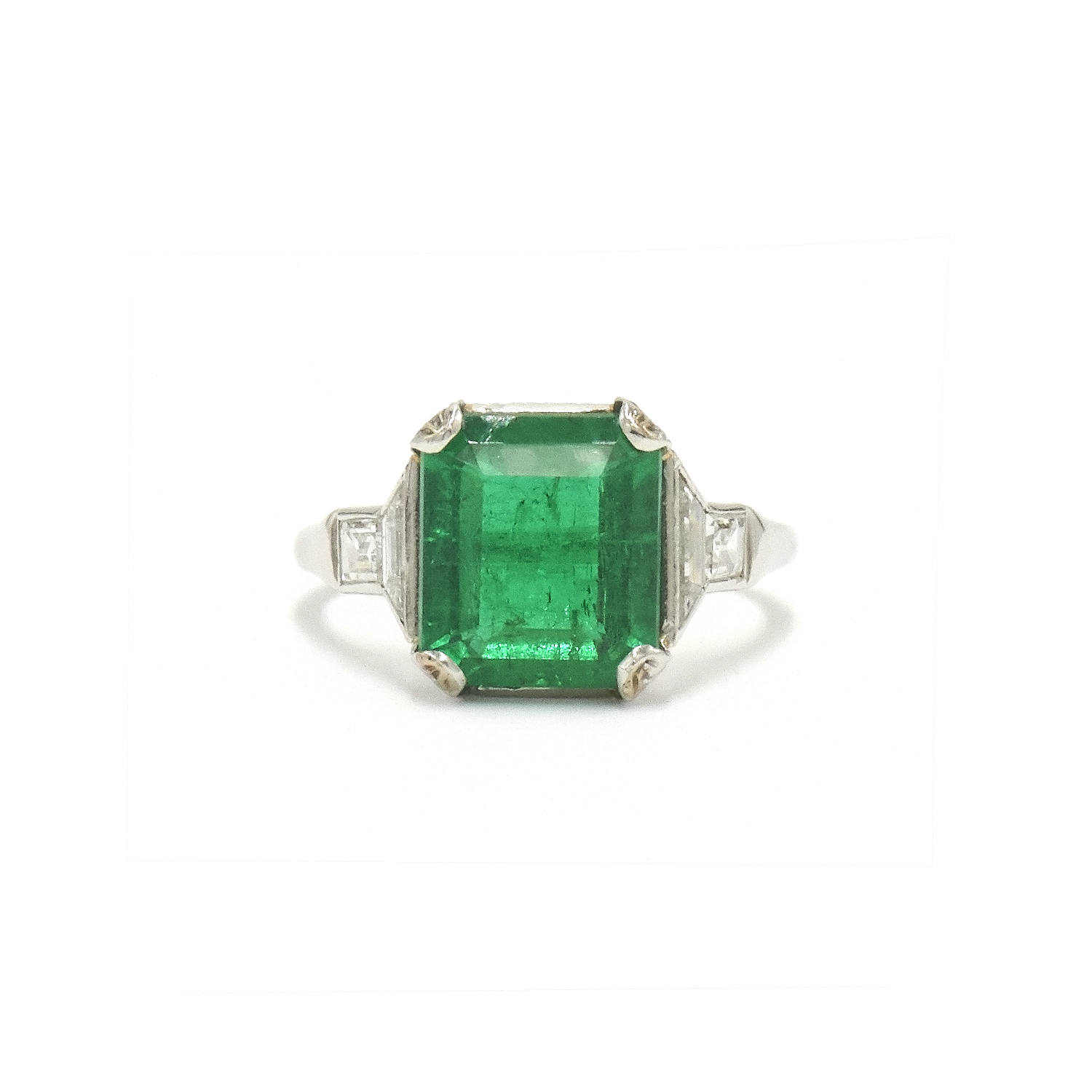 Art Deco Colombian Emerald and Diamond Ring Style F-33760-FL-0-0