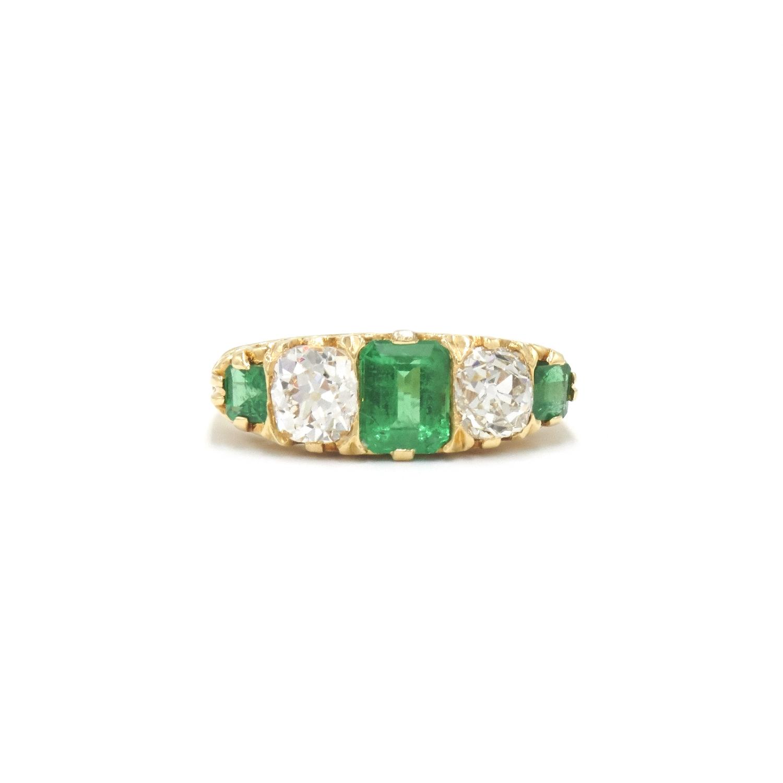 Victorian Emerald and Old Mine Diamond Five Stone Ring Style F-33963-FL-0-0