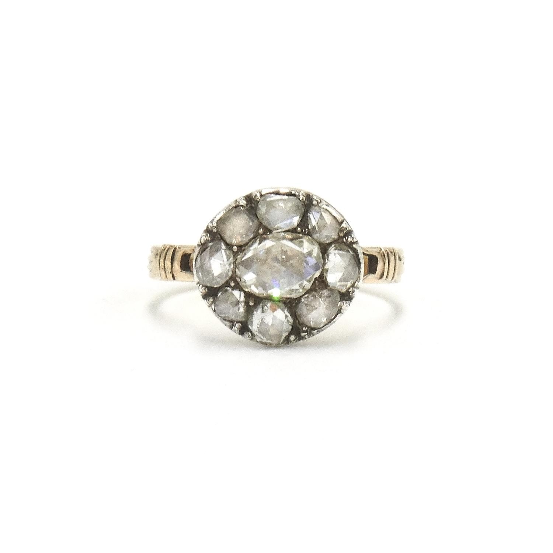 Georgian Rose Cut Diamond Cluster Ring Style F-34396-FL-0-0