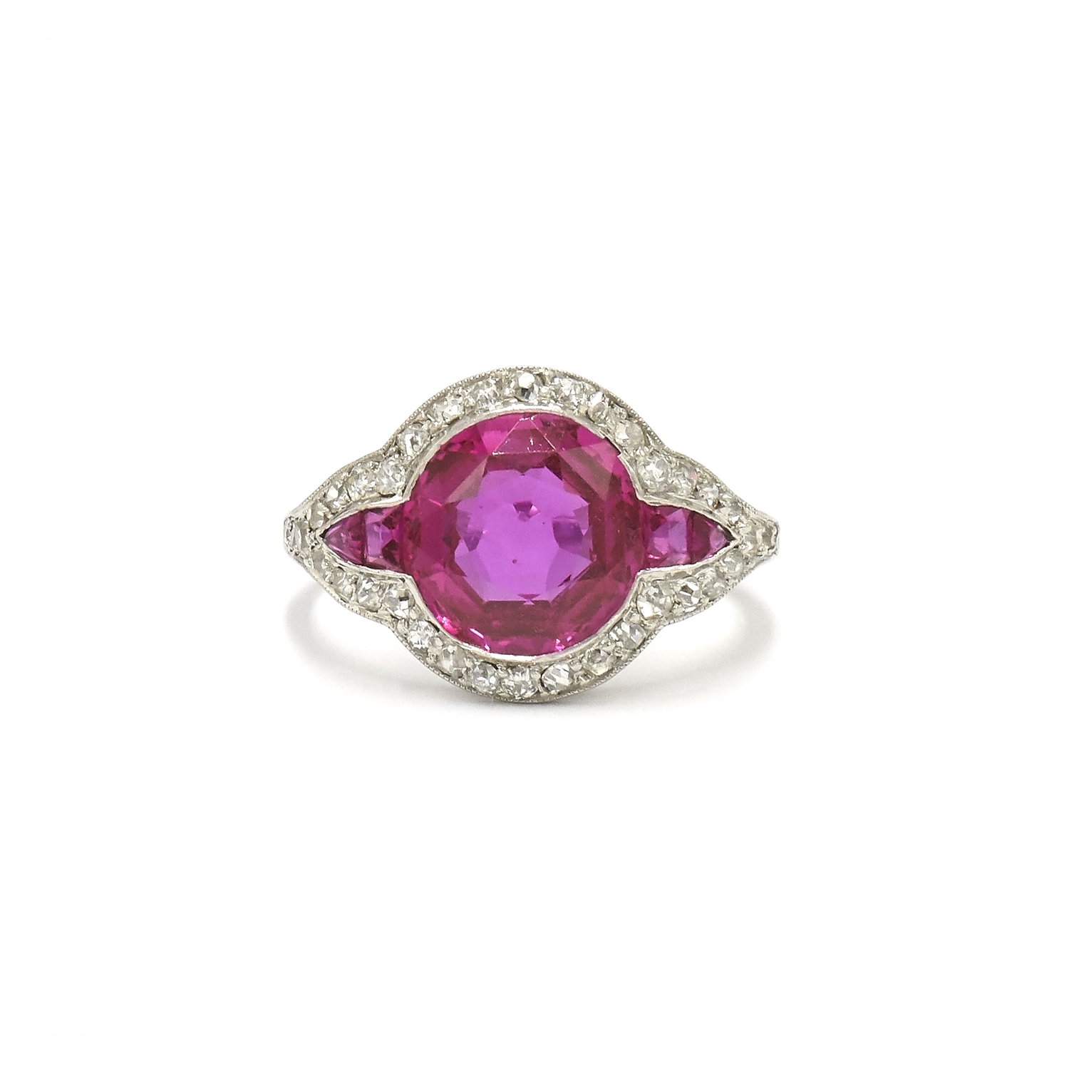 Art Deco Pink Sapphire and Diamond Ring by Cartier New York Style F-34681-FL-0-0
