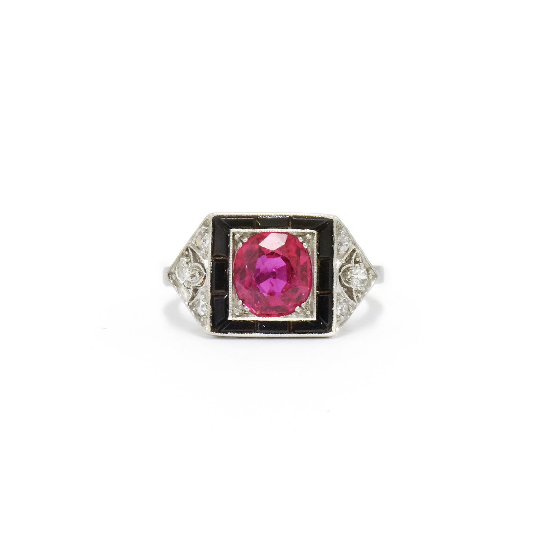 Art Deco Pink Sapphire, Onyx and Diamond Ring Style F-34808-FL-0-0