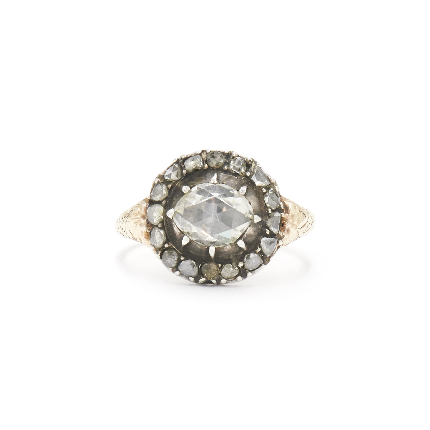 Georgian Rose Cut Diamond Cluster Ring Style F-34863-FL-0-0