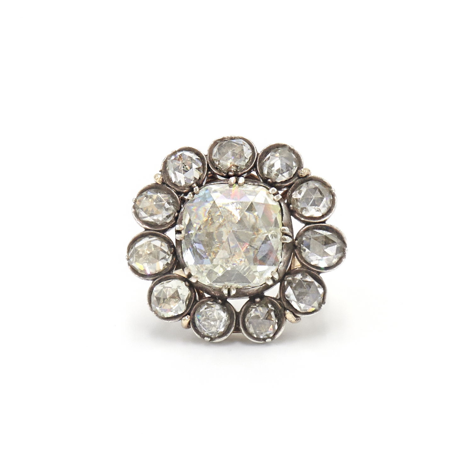 Antique Rose Cut Diamond Button Cluster Ring Style F-36608-FL-0-0