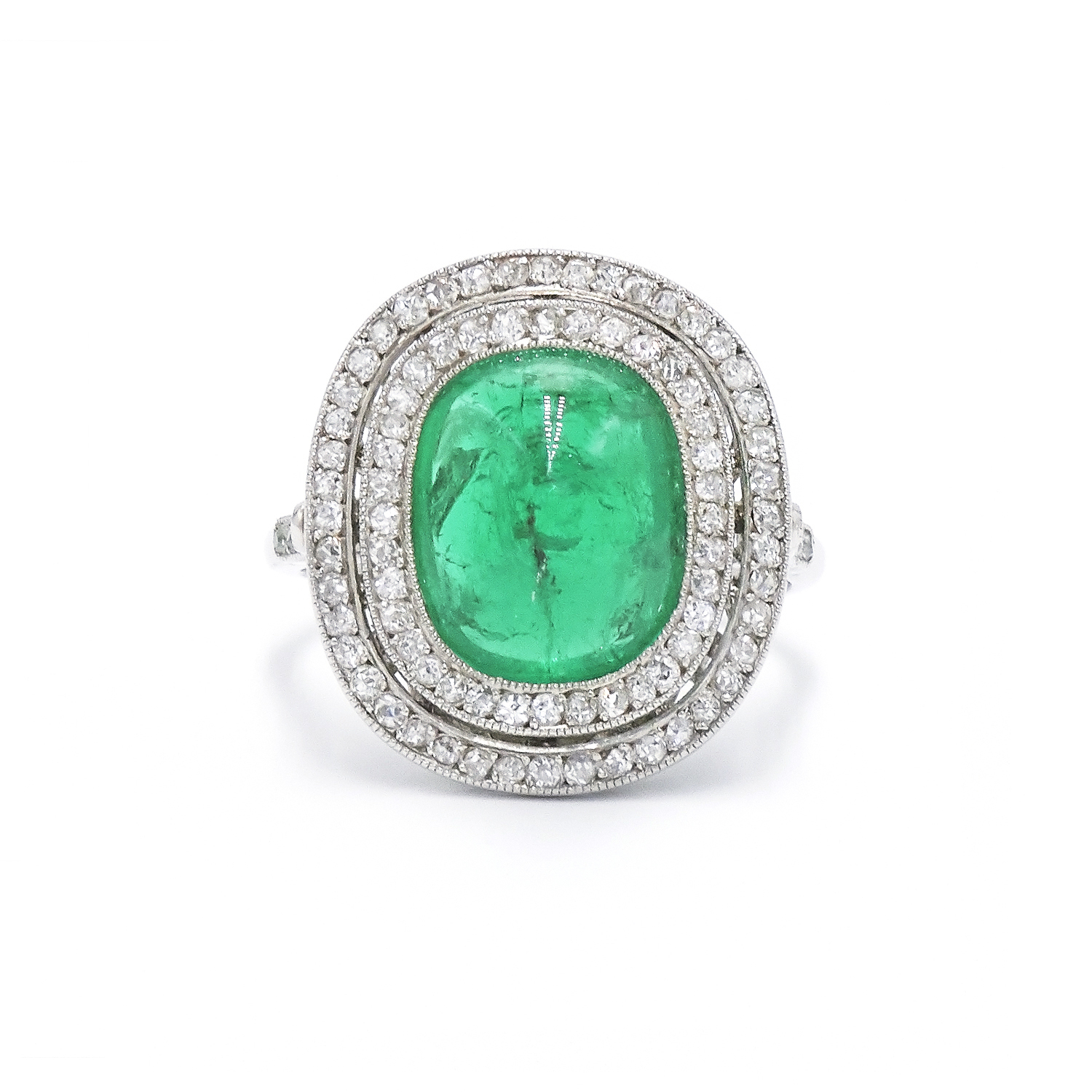 Belle Epoque Sugarloaf Emerald and Diamond Ring Style F-36772-FL-0-0