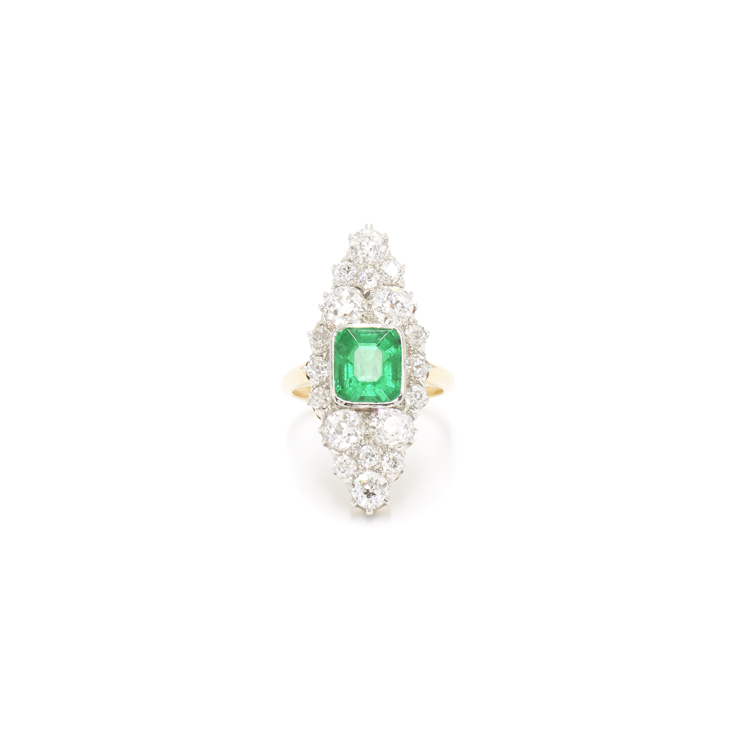 Edwardian Emerald and Diamond Navette Ring Style F-36787-FL-0-0