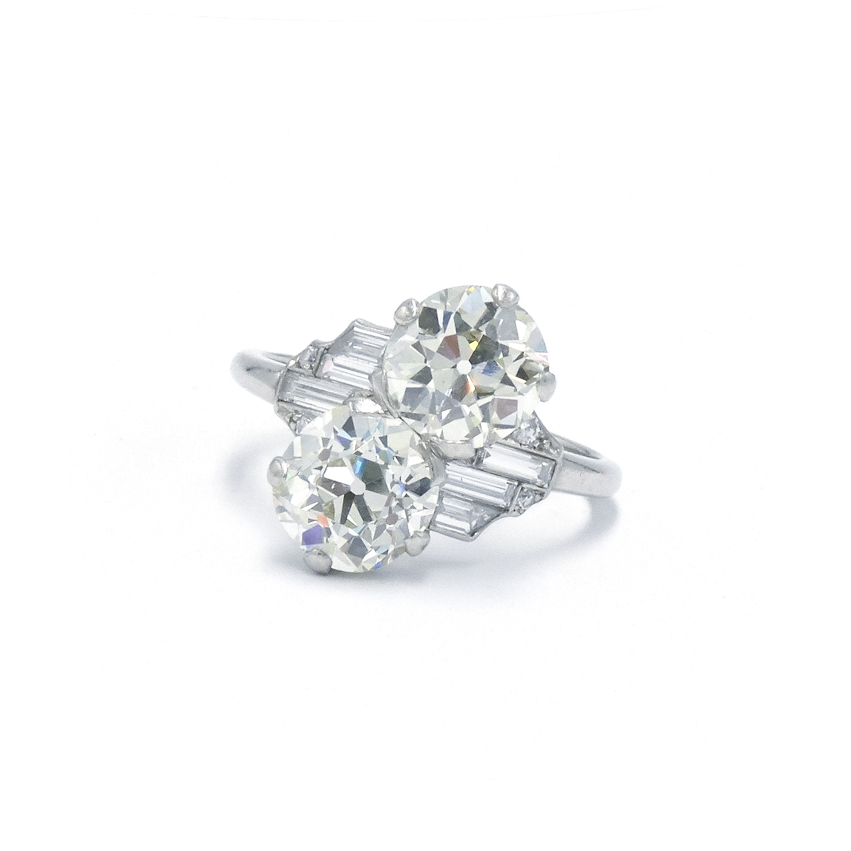 Old European Cut Diamond Bypass Ring by Raymond Yard Style F-38067-FL-0-0